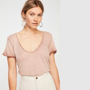 FREE PEOPLE Saturday Crochet Tee Washed Brown NWT